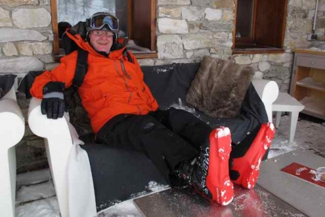 Dave relaxing in his fully mouldable Salomon Max Custom Shell boots