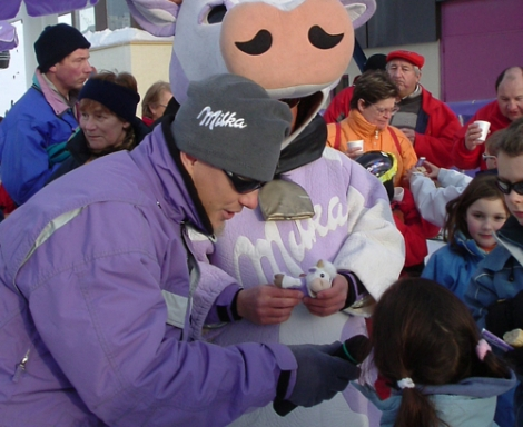 Kids love the Milka cow and other resort characters ...   [(c) W King]