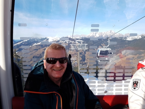 Editor Watts riding the new gondola link to Saalbach the day after it opened