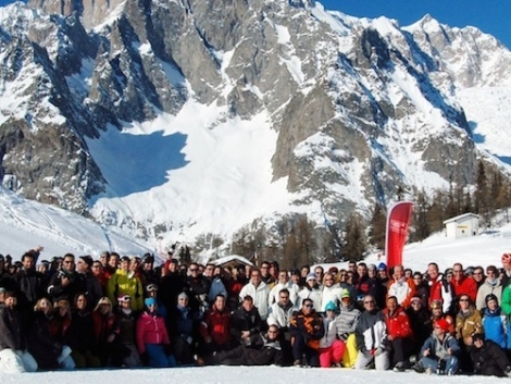 Corporate ski trips are popular and may or may not involve real work
