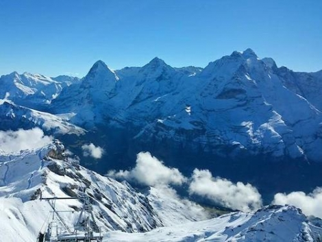 Lovely view from the Schilthorn showing fresh snow-covered mountains in Murren