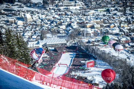 No crowds at the bottom of the Hahnenkamm this year  (Pic Michael Werlberger)