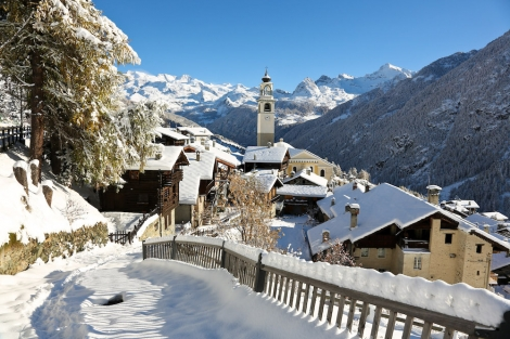 The charming village is at one end of Italy's big Monterosa ski area