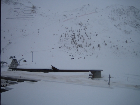 The view from Dave's balcony at 10.30am last Monday – not a lift moving