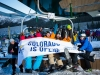Skiers queue for first lift at A-Basin