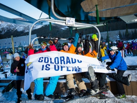 One snowboarder queued since 6pm Friday night to be first on the lift at Arapahoe Basin