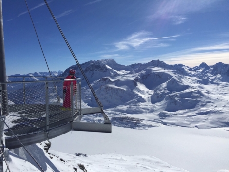 Azara Chittock enjoying the view to Italy from Val Cenis on her half-term ski holiday