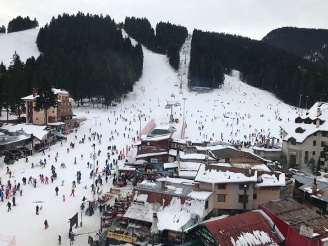 The central hub of Borovets, the first winter resort in Bulgaria