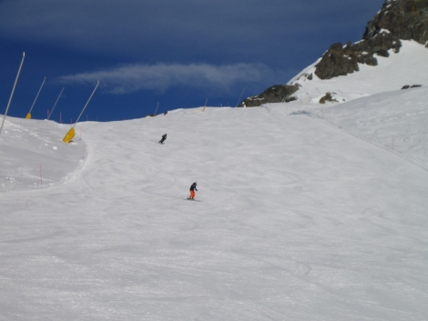 The deserted runs of the Monterosa ski area are ideal for high mileage piste bashing