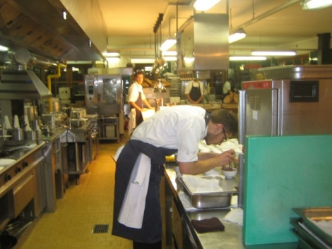 Chefs at work in the San Cassiano restaurant with 2-Michelin stars where Editor Watts had canapés