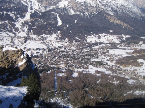 The view over Cortina from the top of the Faloria cable car