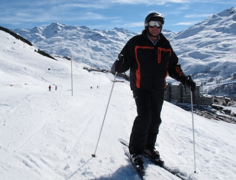 Mr Ski Amis on skis – a rare sight, but getting less so