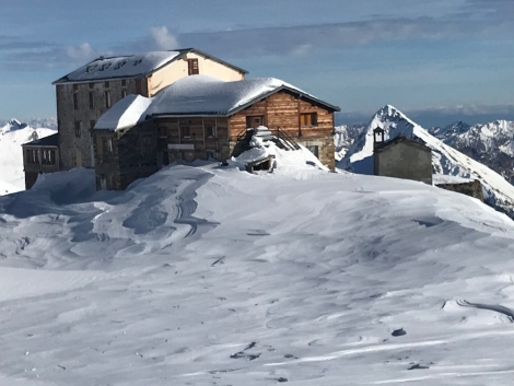The soon-to-be-renovated Guglielmina hut, famed for its charismatic caretaker Alberto