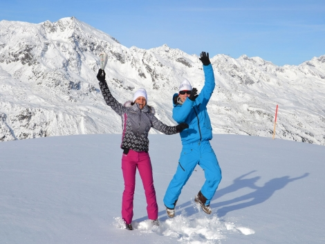 Skiers in the snow at Hochgurgl — the Austrian resort of Obergurgl has opened early
