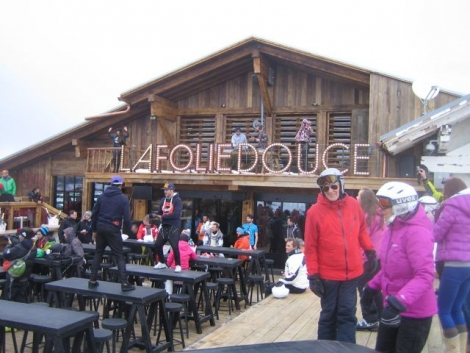 Stanford Skiing owners John and Kathryn Kinnear (in the foreground) bopping at the new Folie Douce in Megève today