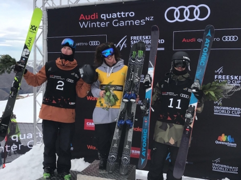 British skier James Woods has won a World Cup slopestyle in New Zealand