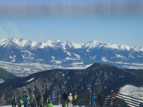 Good views of the High Tatras mountain range from the Jasná ski area