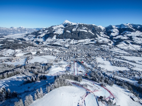 Kitzbühel is the first non-glacial ski resort to open in the Alps. Pic: Michael Werlberger
