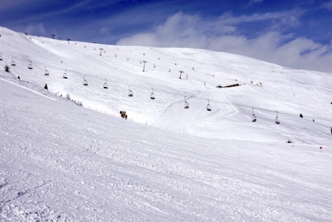 Deserted slopes in Livigno on Saturday 9th March