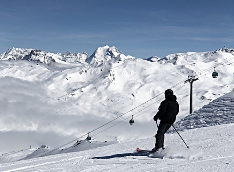 The sunny main slopes of Les Menuires, seen on Tuesday from La Masse