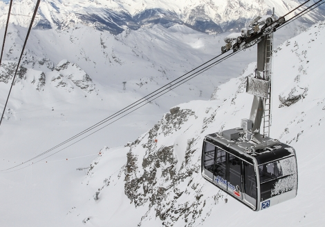 The old Mont-Gelé cable car in Verbier was built in 1959