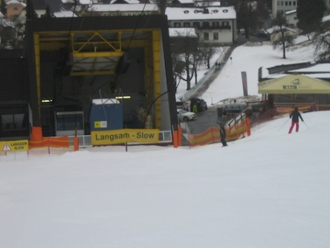 The Schruns cable car at 700m, which Dave's group reached at 9am after a 10km run with a descent of over 1700m vertical