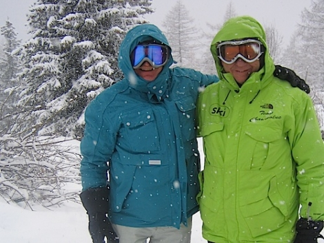 Snowy Champoluc on Friday: Dave (left) with Simon Brown who runs Ski 2's resort operation