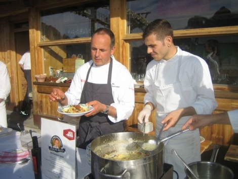 Chefs at work at the Col Alt hut on Sunday