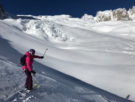 Nicky Holford on an empty Vallée Blanche, accessed from Courmayeur