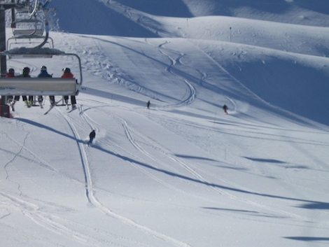 Powder on the Solaise pistes on Saturday morning