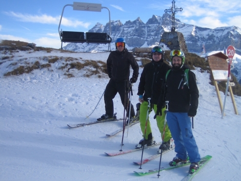 Editor Gill (centre) at the heart of the Portes du Soleil, flanked by son Alex (right) and nephew Nick (left)