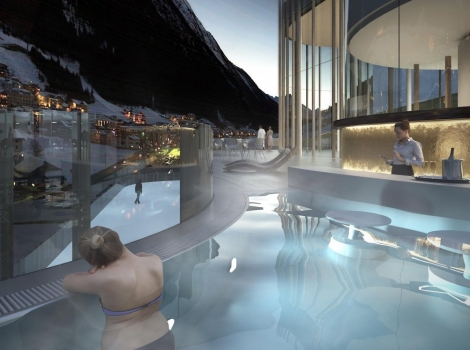 The Silvretta Spa in Ischgl will have a pool bar with a mountain backdrop