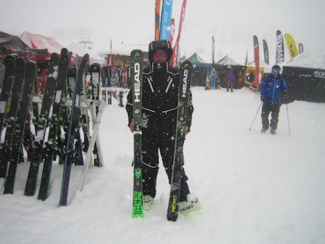 Two of Dave's favourite skis: the Head Supershape Magnum (left) and Head Strong Instinct Ti