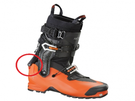 Arc'teryx has found a problem with the axis pin on its ski boots — circled here