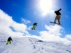 Snowboarders build their own slope