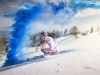 Austrian ski racer explodes in colour