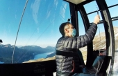 Scientists measuring air quality in a gondola in the Swiss ski resort of Engelberg