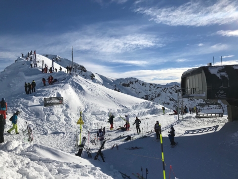 A freeride competition was being held on a steep and gnarly slope served by the top lift on La Rosière's newly expanded terrain