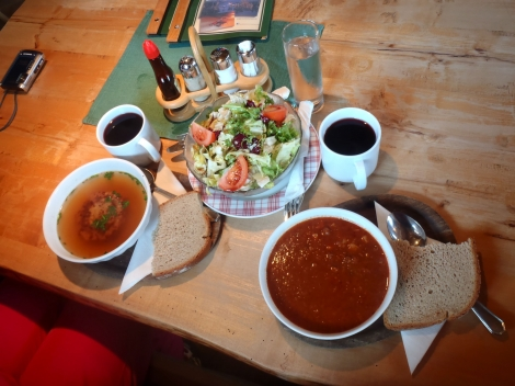 A proper skier's lunch: goulash soup in the Horchwurzen Alm, Schladming