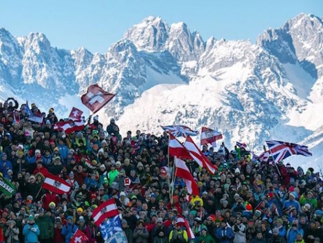 Fans at the Hahnenkamm ski races. Pic: Michael Werlberger
