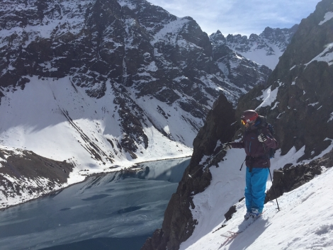Mike Douglas, inventor of the first ever twin-tip ski, scopes out a line in Portillo