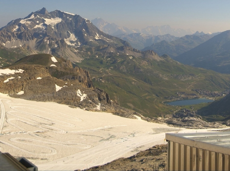 The heat-affected Grande Motte glacier in Tignes on the day it closed, 25 July