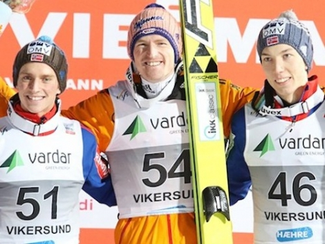 Anders Fannemel (left), Severin Freund and Johann Andre Forfang in Norway. Photo: FIS