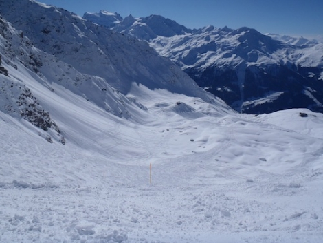 An itinerary ski route in Verbier: should these be included in overall piste length?